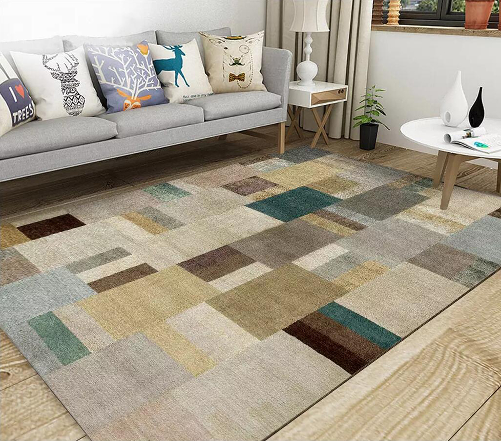 3D Floor Wallpaper Abstract Geometry Square Living Room Carpet Style Floor Picture