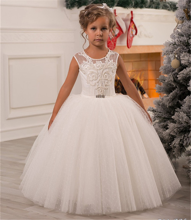 New Ivory White   Girls   Communion   Dress   Ball Gown Beading Pearls Puffy Tulle   Flower     Girls     Dresses   for Wedding Party Longo