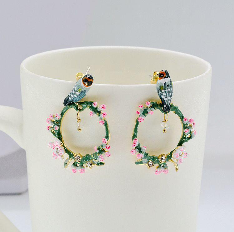 Earrings Jewelry Korean-Fashion Popular Bird Vine Ear-Clip Female Magpie Cherry Tweed