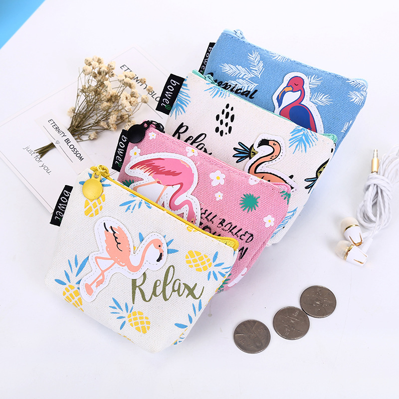 PACGOTH 2017 New Kawaii Cartoon Printing Canvas Coin Purse Unisex Fashion Animal Prints Hot Flamingo Pattern Zipper Coin Bags pacgoth japanese and korean style pu leather coin purse casual animal prints cute cats hot lip pattern zipper cash pouch 1 piece