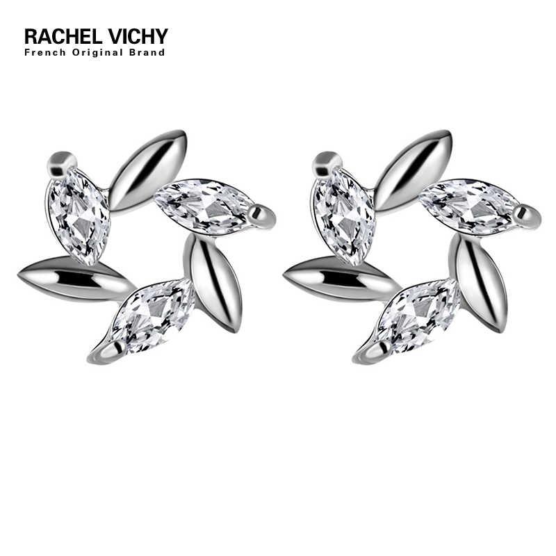 RACHEL VICHY Cubic Zirconia CZ ขนาดเล็กต่างหูดอกไม้สำหรับผู้หญิงต่างหูคริสตัลของขวัญ E64