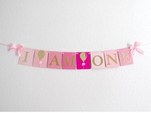 Handmade Pink Rose Birthday Banner Girl first highchair bunting 1st birthday party banner room gold balloon I am one cute flag