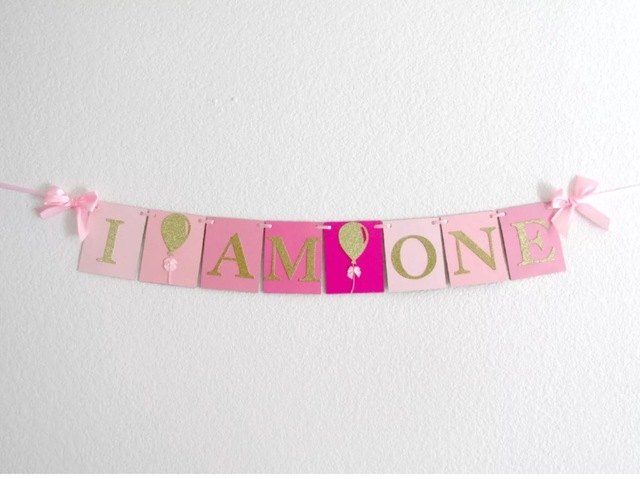Handmade Pink Rose Birthday Banner Girl first highchair bunting 1st - first birthday banner