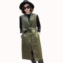 2016 New Autumn and Winter  Leather Suede Sleeveless Jackets Women Basic Coat Long Outerwear Clothing Female Slim Fashion Coats