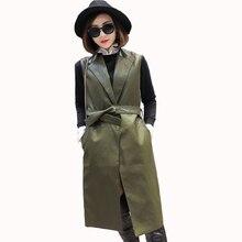2017 New Spring and Autumn Leather Suede Sleeveless Jackets Women Basic Coat Long Outerwear Clothing Female Slim Fashion Coats