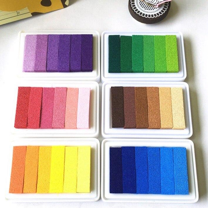 6colors 9.5*6.3CM  Inkpad Craft Oil Based Diy Ink Pads For Rubber Stamps Scrapbook Wedding Decor Fingerprint Kids Art Supply