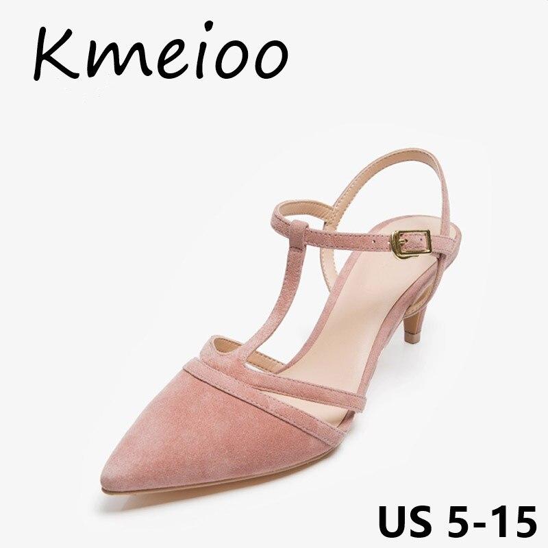 Kmeioo femmes chaussures bout pointu sandales découpées talons Med bride à la cheville chatons daim 5 CM talons robe chaussures d'été femmes sandales