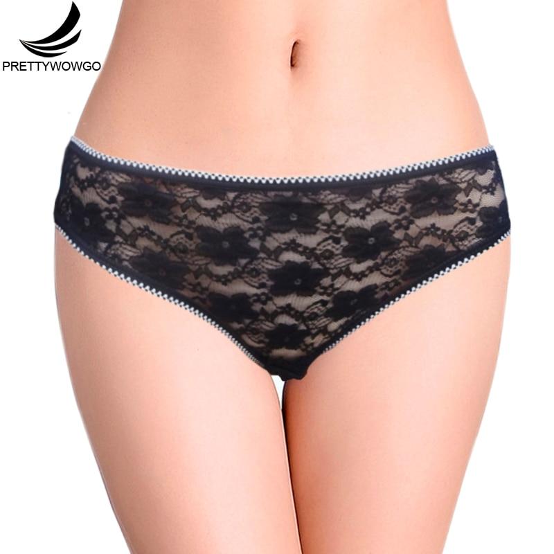 Prettywowgo Lingerie 2018 New Arrival Good Quality Sexy Taransparent Lace Women Cotton   Panties   5015