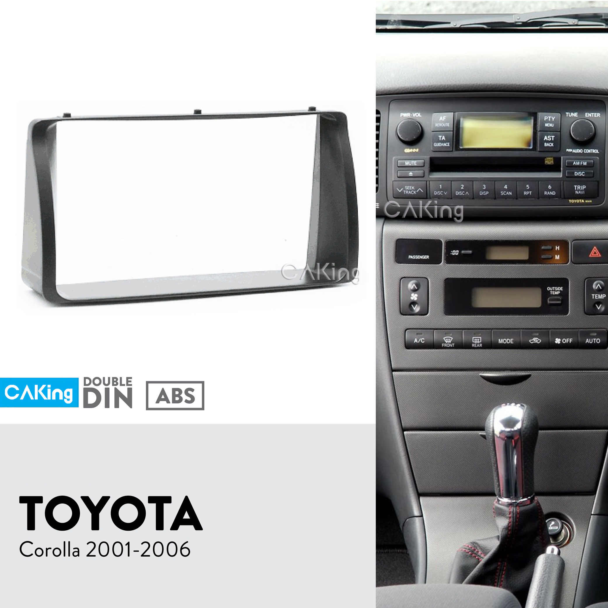 Car Fascia Radio Panel for Toyota Corolla 2001-2006 Dash Kit Install Facia Plate Adapter Console Bezel Adapter Stereo Cover Trim