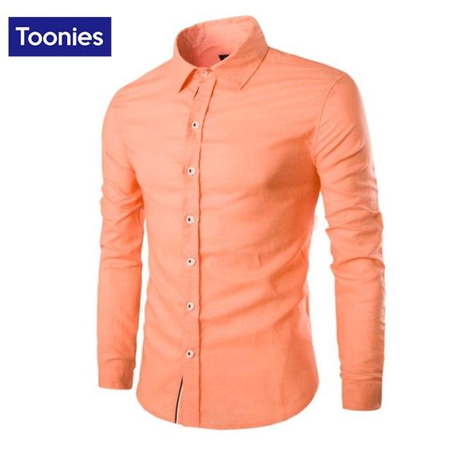 Male Business Shirt Solid Brand Spring And Autumn Fashion Men Long Sleeved Shirt Long Sleeve Camisa Masculina White Black Orange