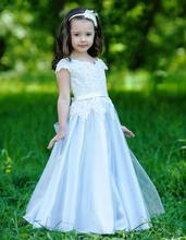 Pretty White A Line Flower Girl Dresses 2017 Long Pageant Dresses For Kids Evening Gowns For Weddings Appliques M2606