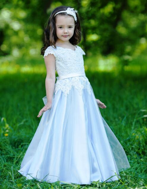 Pretty White A Line   Flower     Girl     Dresses   2018 Long Pageant   Dresses   For Kids Evening Gowns For Weddings Appliques M2606