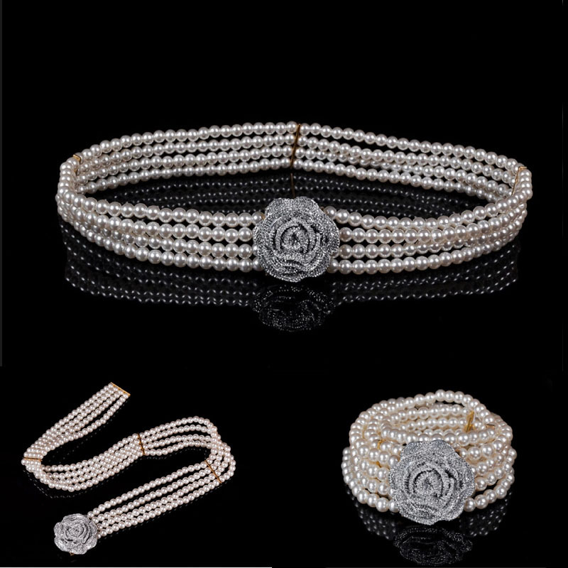 5PC Fashion Women silver Rhinestone Flower belt pearl elastic belts for women stretchy waist Chain