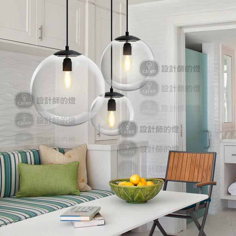 New modern glass round pendant lamp Crystal living room bedroom lighting glass ball pendant light modern crystal lamp round shape led pendant light for bedroom living room lighting