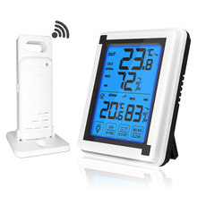Cuaca Station + Outdoor Cuaca Sensor Lampu Latar Thermometer Hygrometer Wireless Weather Station(China)