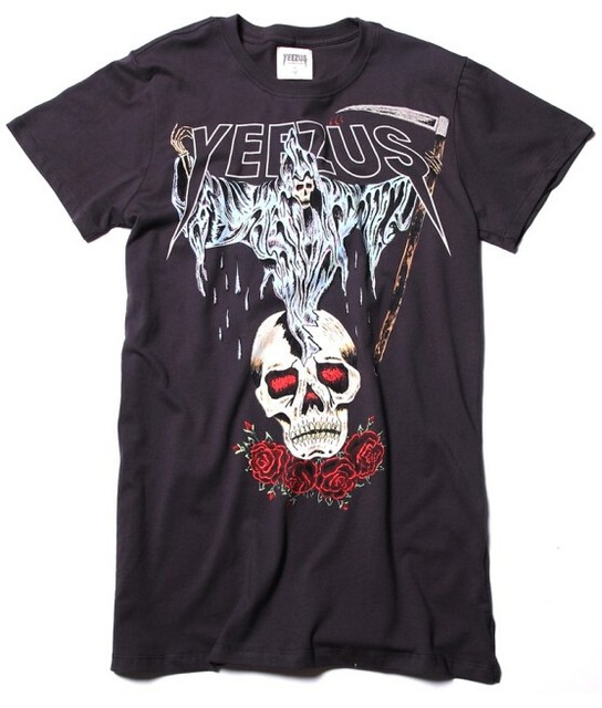 703115c6 Authentic Kanye west Yeezus Tour yeezy Merch Death God Skull logo Sickle  And roses t-shirt t shirt tee
