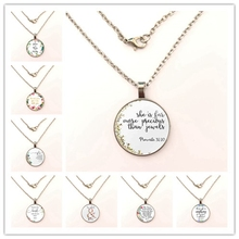 Classic Psalm Quote necklace Bible Verse Jewelry Fashion Glass Dome Flower Letter Christian Jesus God With US Pendant necklace hot new romans 8 31 bible quote keychain if god is for us who can be against us verse christian nursery jewelry women men gifts