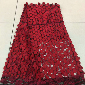 Red Africa 3D Fabric with Embroidered guipure lace Popular nigerian tulle mesh lace fabric 5yard F313-1