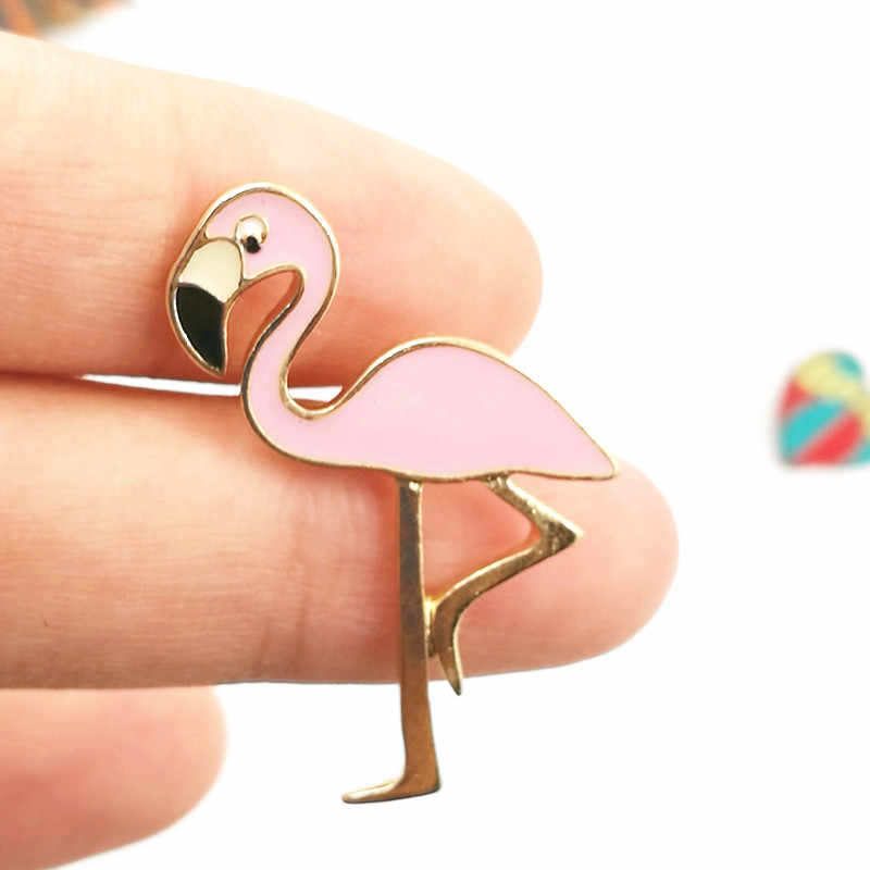 Timlee X147 Cartoon Cute Pink Flamingo Uccello Design In Metallo Spilla Pins All'ingrosso