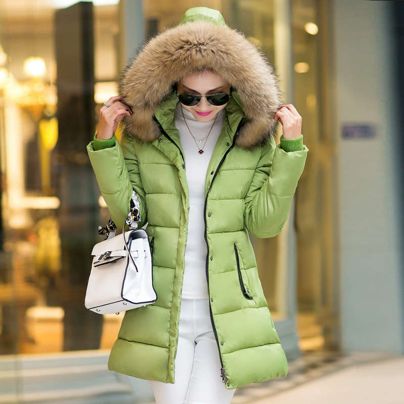 ФОТО 2017 Autumn & Winter Women Parka Outerwear Duck Down Jacket With Large Fur Collar Plus Size Female Thickening Long Coat MZ752