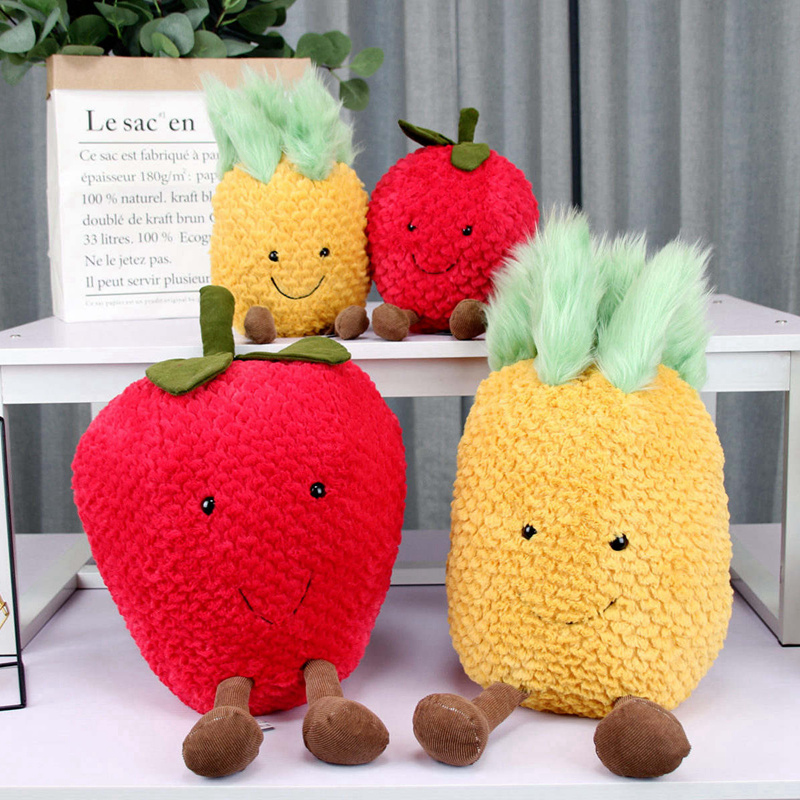 Super Soft Baby Toys Cute Stuffed Pineapple Doll Toy Plush Fruit Strawberry Toys Pillow Gift Toy For Infant 22cm/35cm