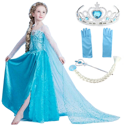 Disney Frozen Elsa Dresses Princess Anna Elsa Dress Elza Costumes for Girls Party Vestidos Kids Girls Clothing Elsa Clothes Set