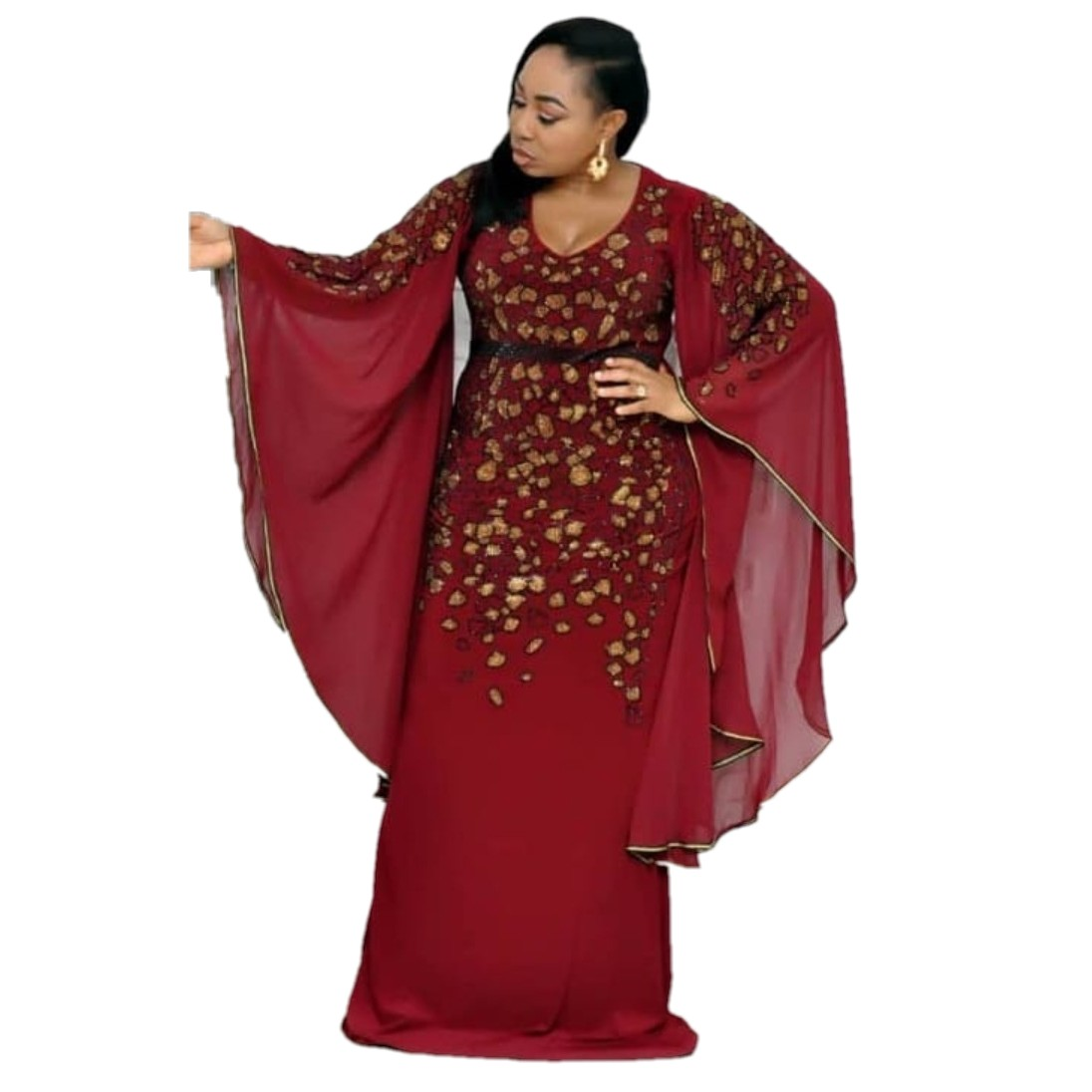 African Dresses For Women Dashiki African Clothes Bazin Broder Riche Sexy Slim Ruffle Sleeve Robe Evening Long Dress