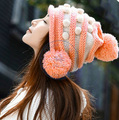 Sweet balls knited hat Beanies Cap Autumn Spring Winter fashion girl lady's multi color  CN post