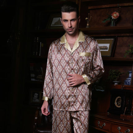Male    summer  100 silk Long sleeves Two-piece suit Pajamas suit