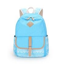 Дети рюкзаки корейский стиль девушки рюкзак ребенка bagpack женщины мешок школы дети холст рюкзак синий ткань синяя сумка bookbag