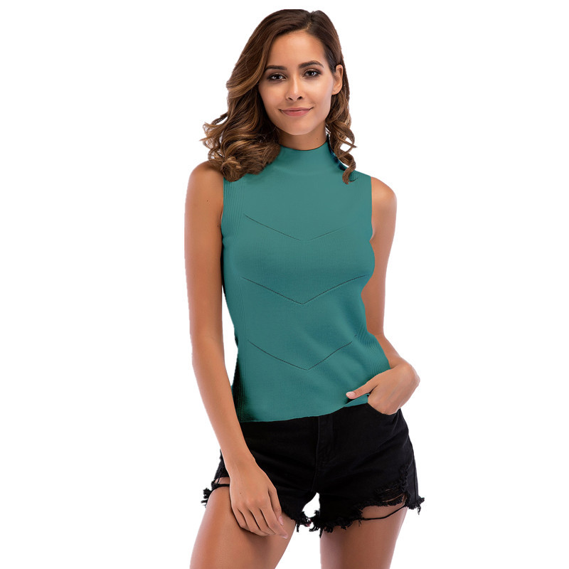 Cool Summer Sexy Knitted   Tank     Top   Women Cotton Elastic Sleeveless Vest Ladies Casual   Tops   black white green pink Dropshopping