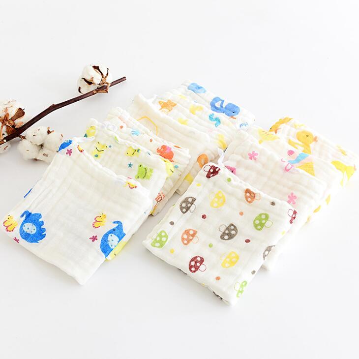 100% Cotton Gauze Handkerchief newborn Baby cartoon towel Face Hand Bathing Towel Bibs Feeding Square Towels QD14