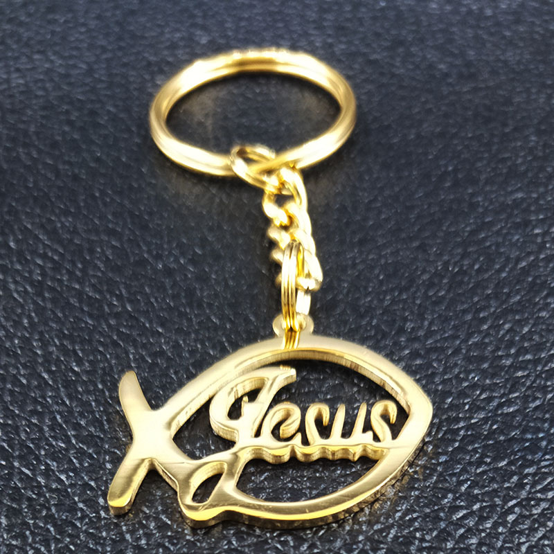 2019 Fashion Jesus Fish Stainless Steel Wallet Chain for Men Gold Color Keychains Jewelry portachiavi uomo K77622B in Key Chains from Jewelry Accessories