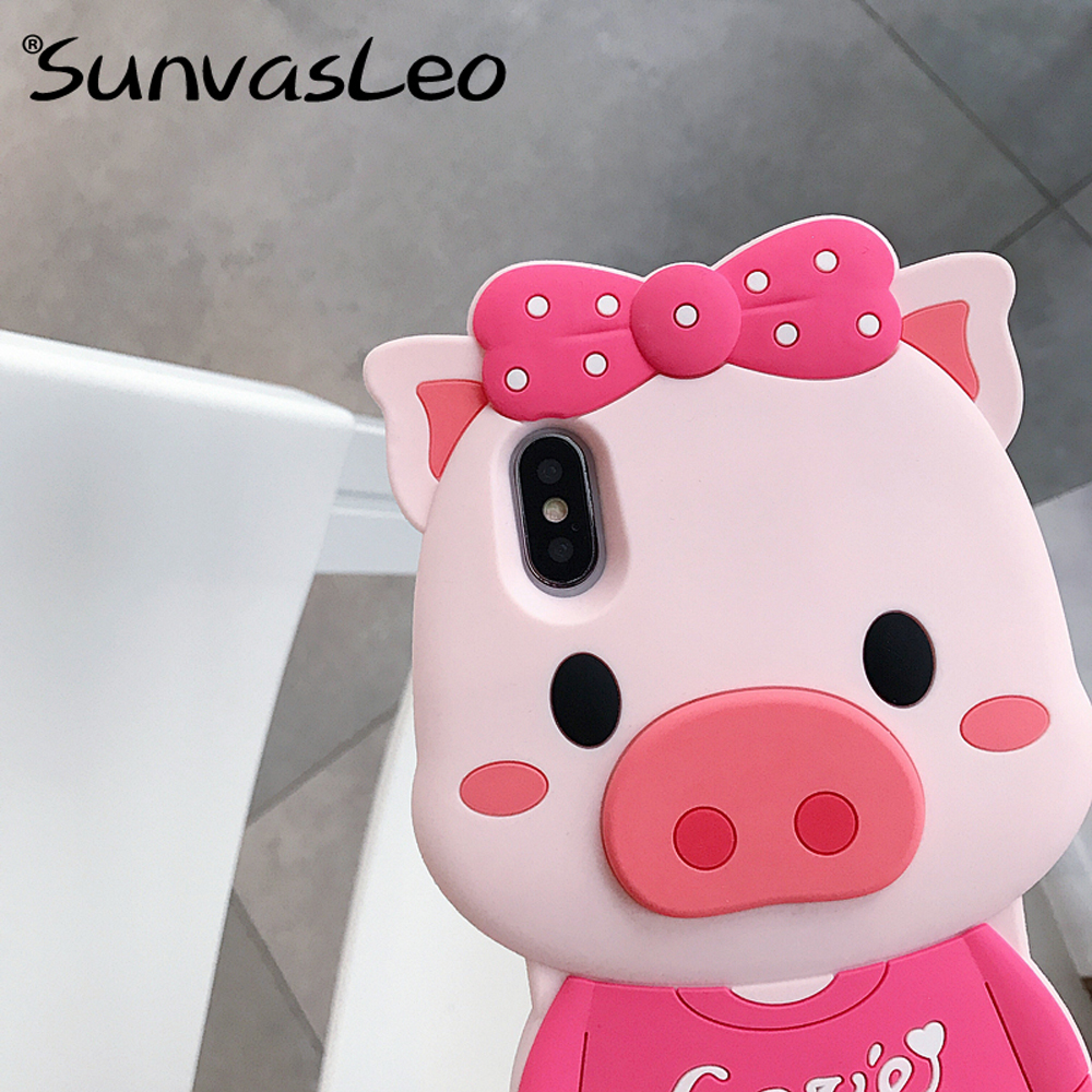 For iPhone 6 7 8 8Plus X XS XR XS Max 3D Cute Pig Cartoon Soft Silicone Case Phone Back Cover Shell Skin with Strap Anti knock in Fitted Cases from Cellphones Telecommunications
