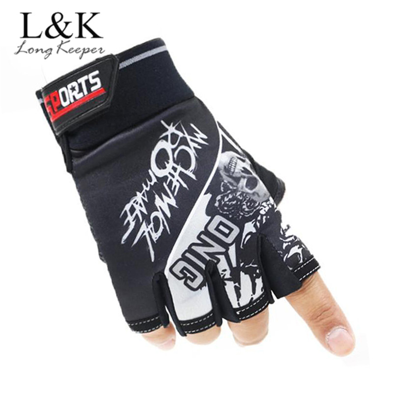 Long Keeper Top Quality Men Cool Sports Gloves Half Finger Work Out Gym Gloves With Skull Pattern Unisex Work Out Guantes G124/1