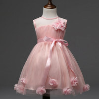 2016 Korean Baby Girls Summer Party Dresses Children Transparent Flower Girl Dress Princess Dress Pink Yellow