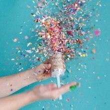 Вечерние конфетти с эффектом пуш-поп для свадьбы, с цветами на день рождения, круглые мини-конфетти, вечерние украшения