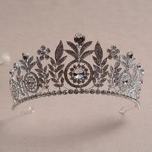 Lo nuevo de La Vendimia Europea Hoja Diseños Tiaras Nupciales Crown Silver Plated Rhinestone Crystal Grande Pelo de La Boda Accesorios
