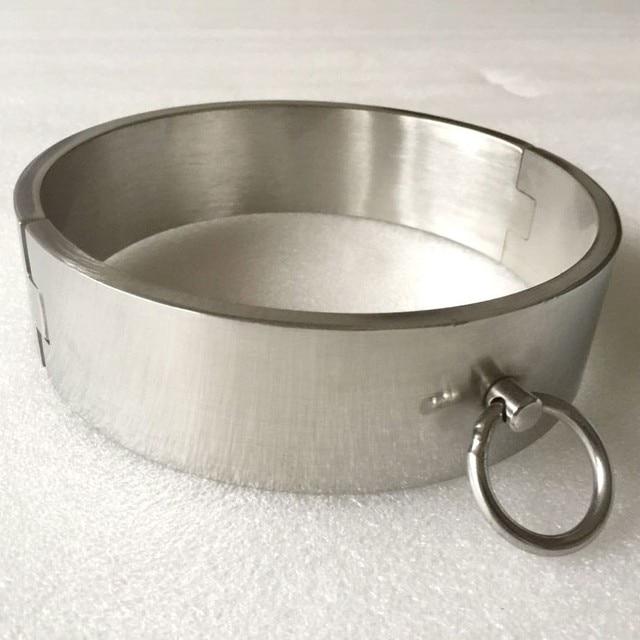 4cm high stainless steel neck collar metal bondage restraints slave BDSM sex toys for woman men adult games O-ring collars