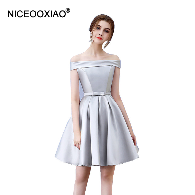 NICEOOXIAO Short Evening Dress 2017 Boat Neck New Women ...