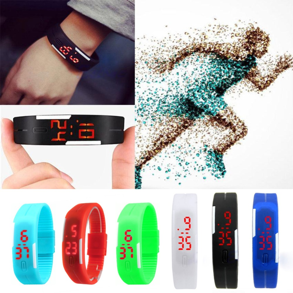 2016 Candy Color Men's Women's Watch Rubber LED kids Watches Date Bracelet Digital Sports Wristwatch for student