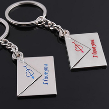 2Pcs Envelope Heart I Love You Couple Key Chains Rings Wedding Gift Keychains