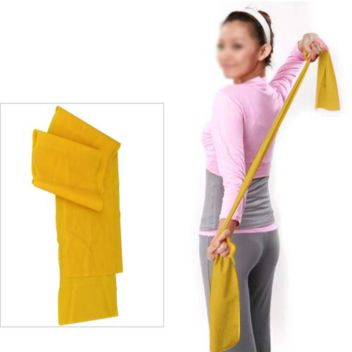 Good deal Yellow 1.5m Yoga Pilates Rubber Stretch Resistance Exercise F