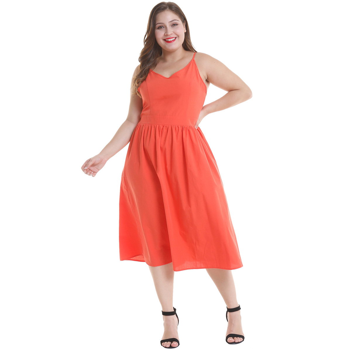 Large women 39 s dress with suspender in pure color A large dress black dress omighty Polyester Casual Solid V Neck in Dresses from Women 39 s Clothing