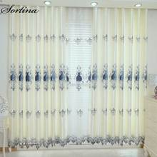 Window Blackout Curtain Ready for Living Room Bedroom Door Roman Christmas and Tulle Luxury European Embroidery Drapes