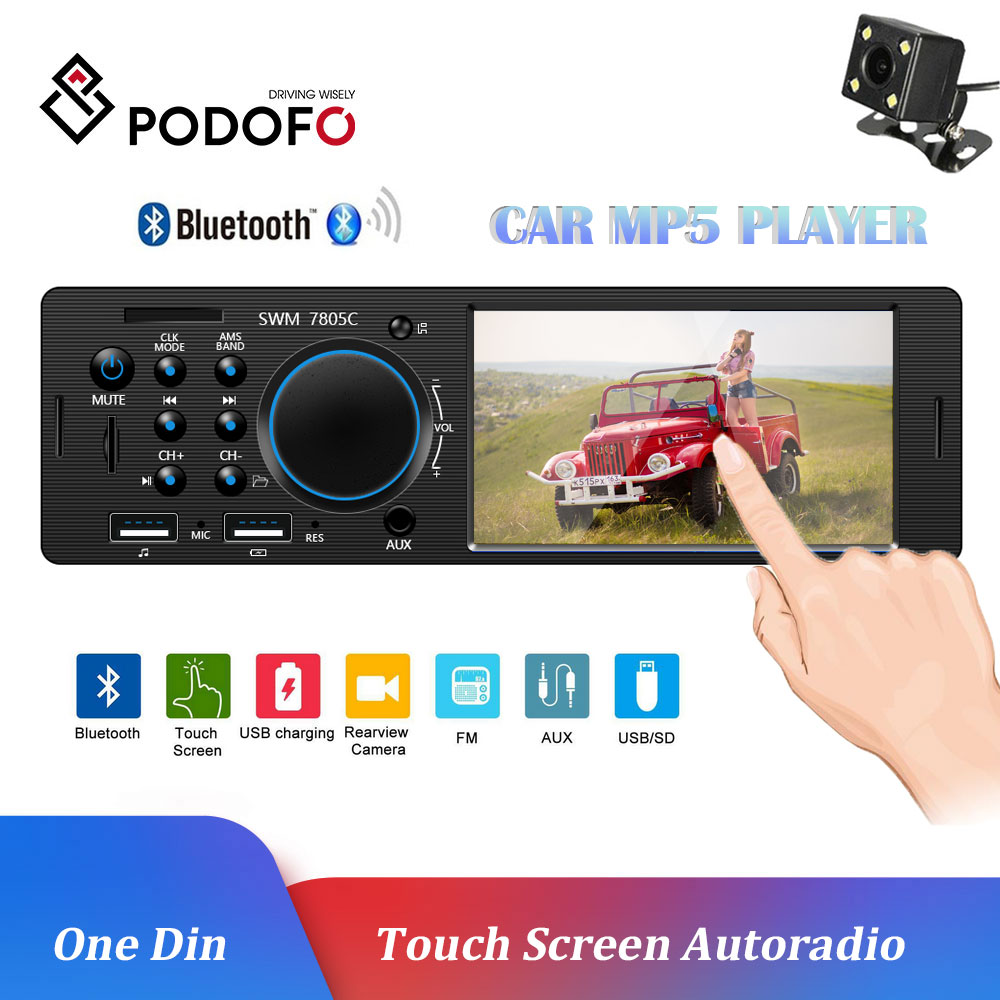 Podofo autoradio rádio do carro 1din bluetooth multimídia mp3 mp5 player 4.1