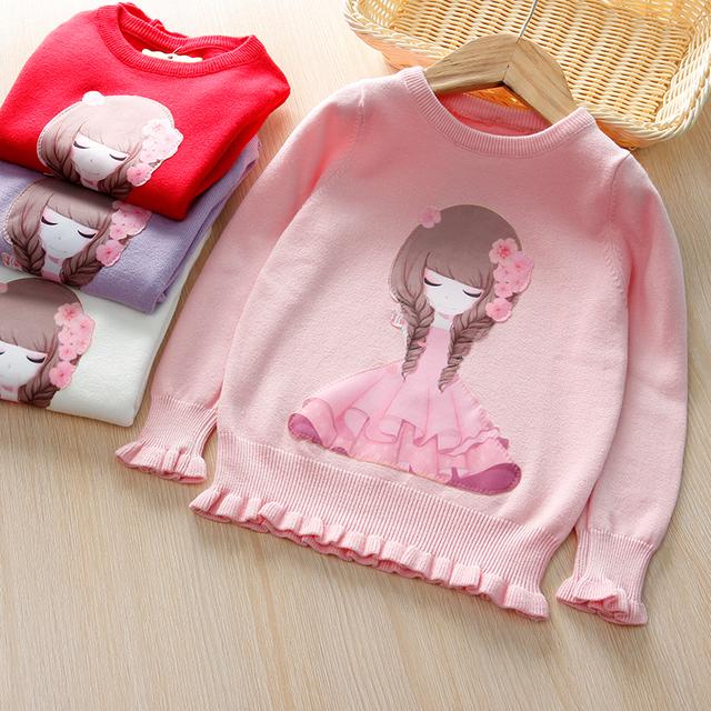 Muchachas de los cabritos del Suéter Del Suéter de Otoño/Invierno Del O-cuello Completo Mangas princesa Suéter de Alta Calidad de la Marca de Ropa de Los Niños