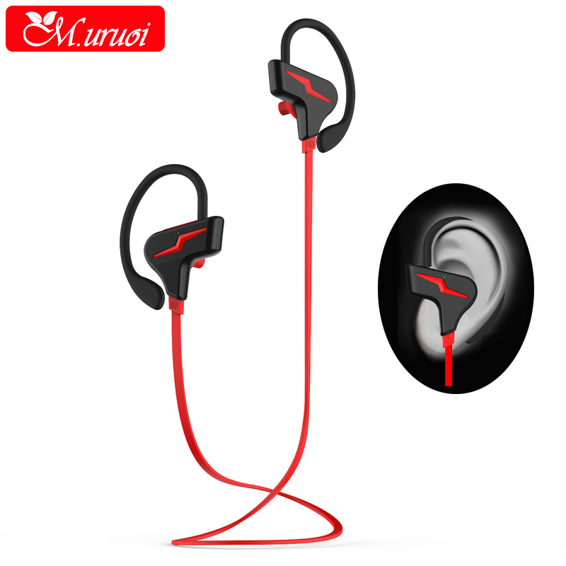M.uruoi Noise Cancelling Headphones Bluetooth 4.1 inear Earphones Sport Stereo Headset Bass Earbuds With Mic for Mobile Phone