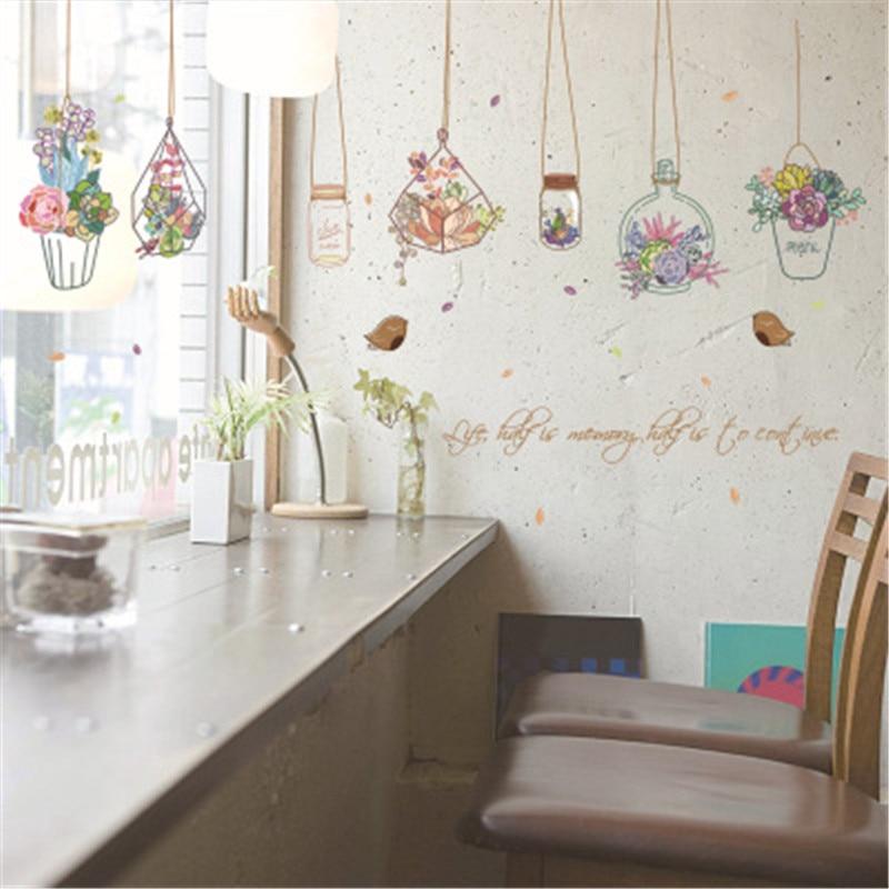 Romantic Bedroom Wall Decor: Flower Pot Basket Wall Stickers For Bedroom Bedside Sofa