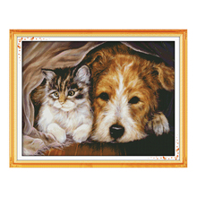 JoySunday counted crossstitch diy Stay together dog DMC14CT11CTcotton needlework livingroom dininghall restaurant hotel painting